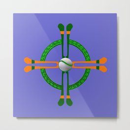 Hurley and Ball Celtic Cross Design - Solid colour background Metal Print
