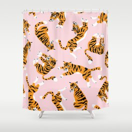 Cute tiger in the tropical forest hand drawn on pink background illustration Shower Curtain