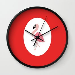 Polly the Pink Flamingo - Red Wall Clock