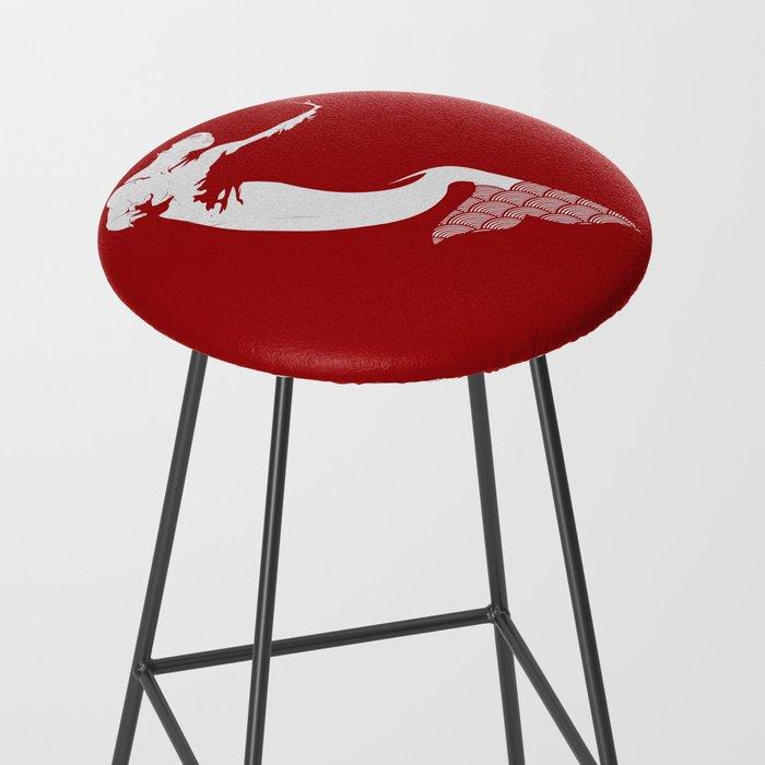 Merman - Red & White - Mermay 2019 Bar Stool