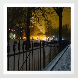 Snowstorm in Boston Common Art Print