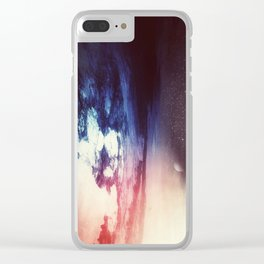 Blue Purple Planet // Violet Star Field // Surreal Space Painting Clear iPhone Case