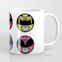 power ranger Mugs featuring Mighty Morphin Power Ranger Headz by Omnibit Designs
