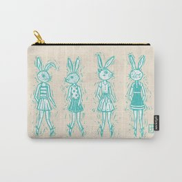 Bunny Girls - cute bunnies woodcut style texture clean creme natural rabbit ears hare cute  Carry-All Pouch