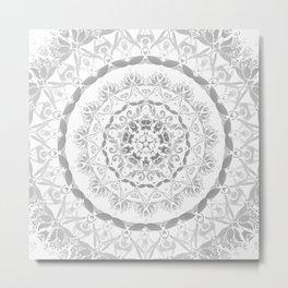 Gray Floral Damask Mandala Metal Print