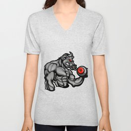 a strong angry bull with a barbell Unisex V-Neck