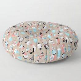 Beautiful graphic pattern little owls Floor Pillow
