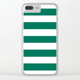 Bangladesh green - solid color - white stripes pattern Clear iPhone Case