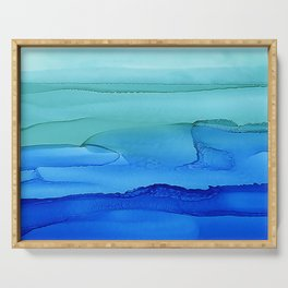 Alcohol Ink Seascape Serving Tray