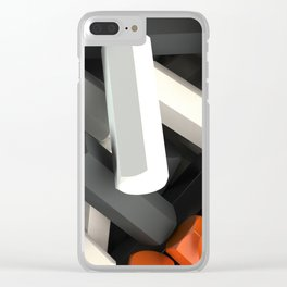 Pile of black, white and orange hexagon details Clear iPhone Case