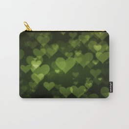 Soft Green Hearts On Dark Graduated background Carry-All Pouch