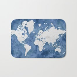 Navy blue watercolor and light grey world map with countries (outlined) Bath Mat