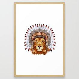 Animals as a human. Portrait  of Lion in war bonnet. Framed Art Print