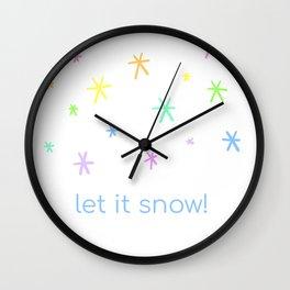 Let It Snow! (Rainbow Flakes) Wall Clock