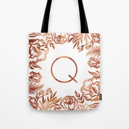 Letter Q - Faux Rose Gold Glitter Flowers Tote Bag