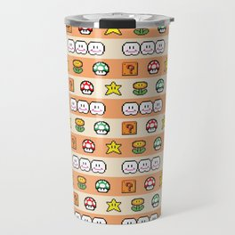 Pixel Game Retro (Orange) Travel Mug