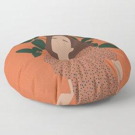 Abstract Woman in a Dress - Minimalist Boho Artwork Floor Pillow