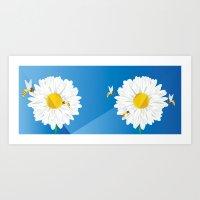 Flowers & Bees Art Print
