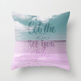 Let the Sea set you Free - Pink Summer Beach Sea Ocean Nature Throw Pillow