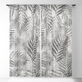 Palm Leaves - Black & White Sheer Curtain