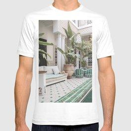 Moroccan Riad In Marrakech Photo | Arabic Interior Design Art Print | Green Tropical Travel Photography T-shirt