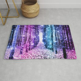 Magical Forest : Aqua Periwinkle Purple Pink Ombre Sparkle Rug