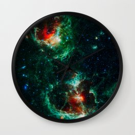 Heart and Soul Nebulae, Galaxy Background, Universe Large Print, Space Wall Art Decor, Deep Space Wall Clock