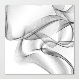 Minimal black and white smoky flux in motion #abstractart #decor Canvas Print