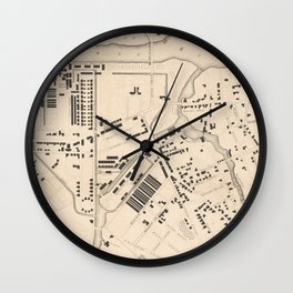 Vintage Map of Lowell MA (1832) Wall Clock