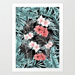 Black & Rose Gold Pink Island Paradise Art Print