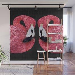 Pink Flamingos (black) Wall Mural