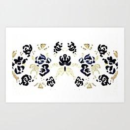 Flower with Gold Leaf Pattern Art Print