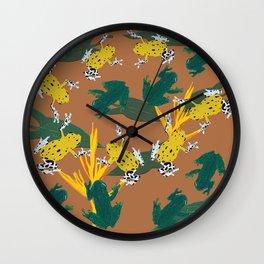 Jungle frogs pattern Wall Clock