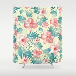 Tropical Flowers Palm Leaves Finesse #7 #tropical #decor #art #society6 Shower Curtain