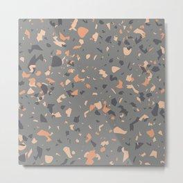 Coral and Gray Terrazzo Pattern Metal Print