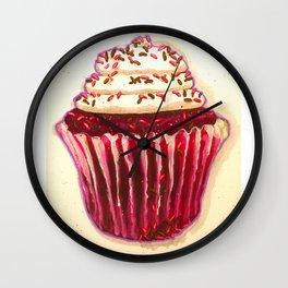 Red Velvet cupcake Wall Clock
