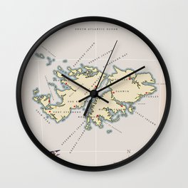 Illustrated map of the British Falkland Islands. Wall Clock