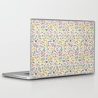 candy Laptop & iPad Skins featuring Retro Blooms (Candy) by Anna Deegan