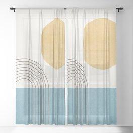 Sunny ocean Sheer Curtain