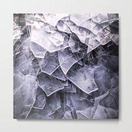 Cracked Ice Tiles In Lake Shore  Metal Print