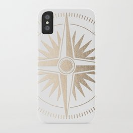 Gold on White Compass iPhone Case