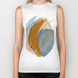 Gentle Breeze: a minimal, abstract mixed-media piece in blues and tans by Alyssa Hamilton Art Biker Tank