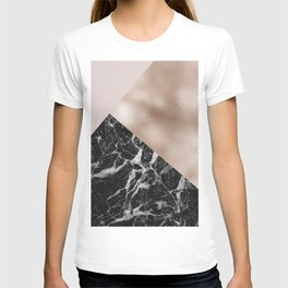 Layered rose gold and black campari marble T-shirt