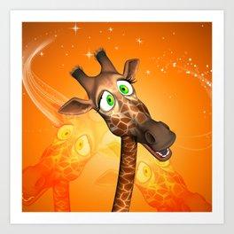 Funny cartoon giraffe Art Print