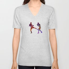 Woman boxer boxing man kickboxing silhouette isolated 02 Unisex V-Neck