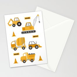 Construction Trucks Stationery Cards