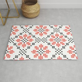 Traditional Romanian flower cross-stitch pattern white Rug