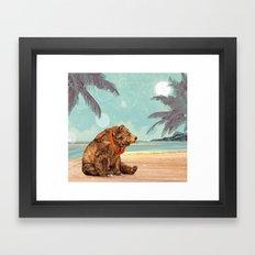 Beach Bear Framed Art Print