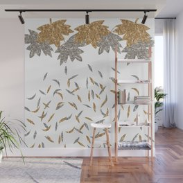 Gold 'n' Silver Fall leaves Wall Mural