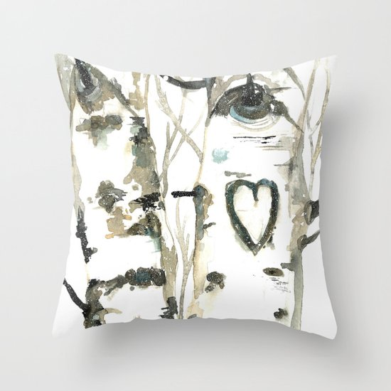 Winter Romance Birch Forest  Throw Pillow
